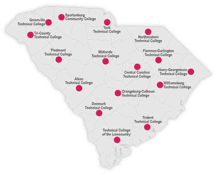 Map of South Carolina Technical College Locations